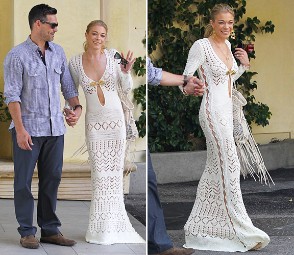 means but I LOVE this crochet dress she wore to her post wedding brunch