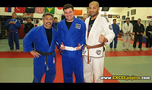 BJJ Instructors Michio Grubbs, Ray Sloan present Landen Henrichs first stripe BJJ White Belt