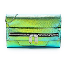 Milly, fashion, holographic leather, clutch