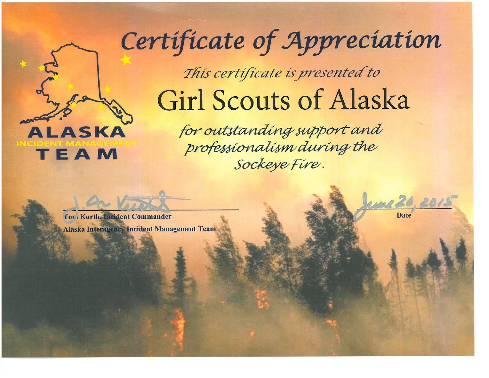 Sockeyefirecert page 001g for outstanding support and professionalism during the mat su sockeye fire gsak received a certificate of appreciation from the alaska incident yelopaper