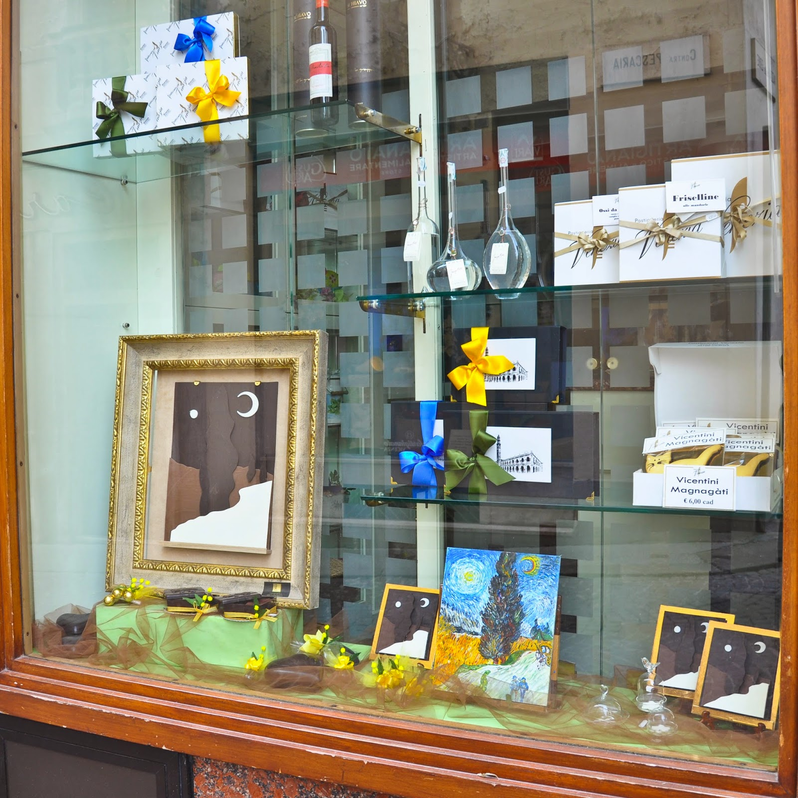 The window display of Pasticceria Venezia in Vicenza showing chocolate reproductions of a Van Gogh's painting