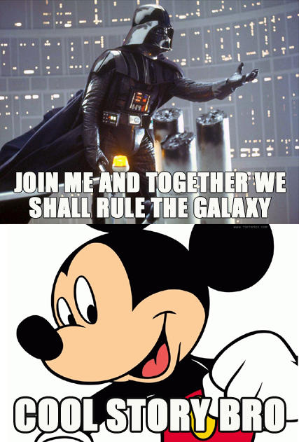 disney bought over lucasfilm, micky and darth