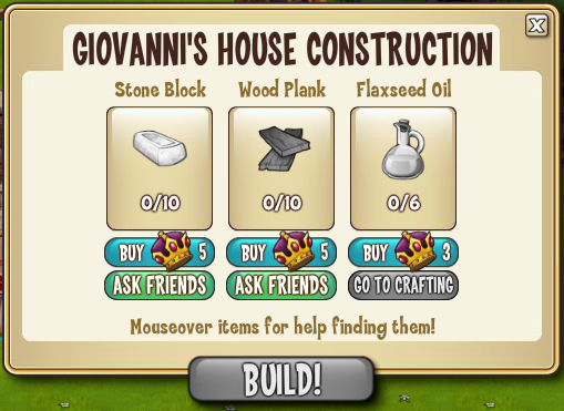 Giovanni's House Construction Materials