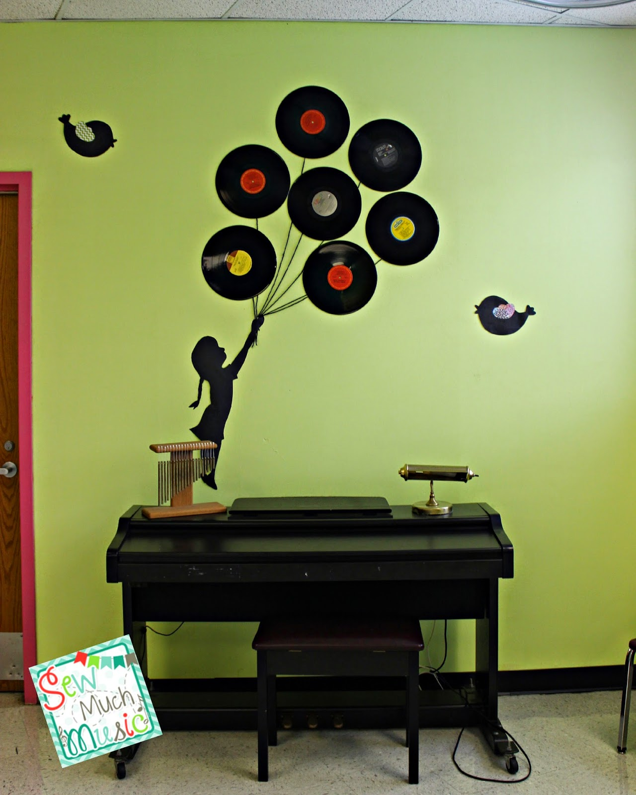 Music Classroom Door Decorations ~ Sew much music my room set up