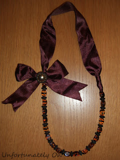 handmade beads and bow necklace