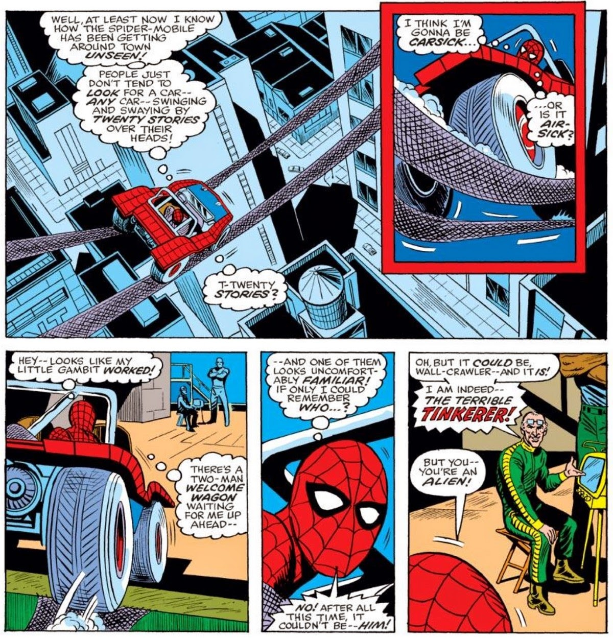 Great After the obligatory monologue Spider Man breaks free and takes the Tinkerer his goon and the Spider Mobile head on