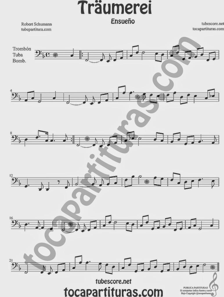 Traumerei Partitura de Trombón, Tuba Elicón y Bombardino Sheet Music for Trombone, Tube, Euphonium Music Scores