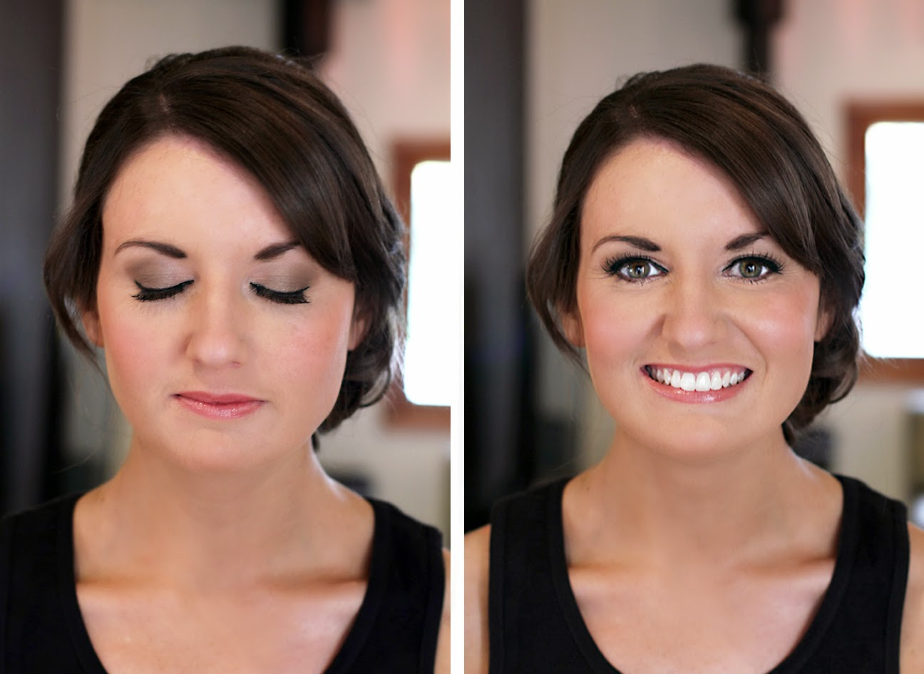 Beautiful Bride makeup. Natural Taupe eyeshadow & gloss lips. Makeup by Katie Dawson from Perle Jewellery & Makeup