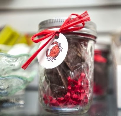 decorated Christmas jar filled with chocolates