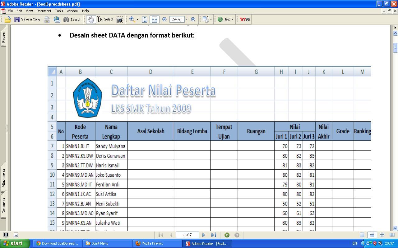 Contoh Soal Lks Jateng 2011 Kategori It Software Aplication