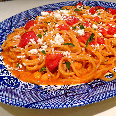 One Perfect Bite: Table for Two - Pantry Pasta with Garbanzo Beans