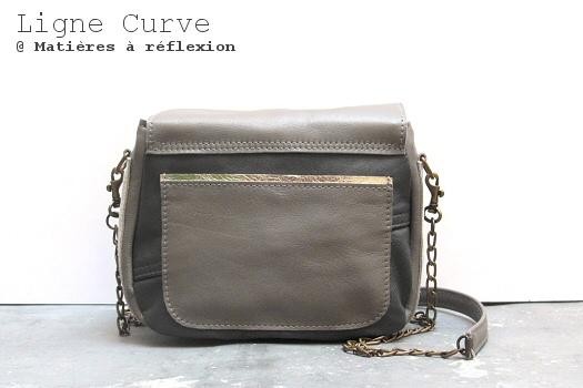 Matières à réflexion soldes sacs cuir Mini curve gris métallisé