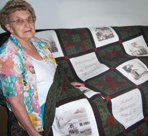 Winner of School Reunion quilt, Dorothy (James) Code.