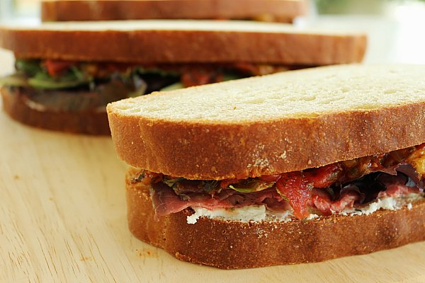 ... Food: Roast Beef Sandwiches with Tomato Chutney & Rosemary Goat Cheese