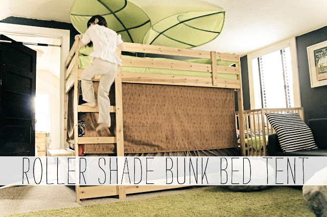Bunk Bed Tent Top http://grosgrainfabulous.blogspot.com/2013/03/roller-shade-bunk-bed-treehouse-tent.html