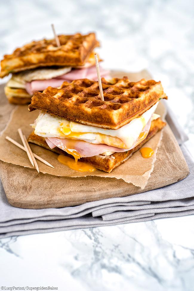 Parmesan waffle, ham, cheese and egg breakfast sandwich | supergolden ...
