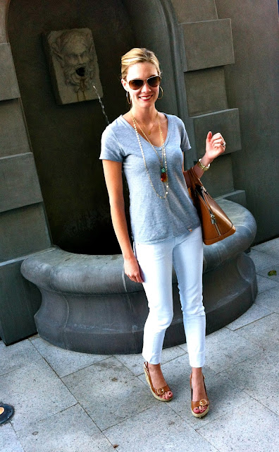 C&C grey t-shirt, ag stevie white jean, lv epi leather bag, jessica simpson tan sandals, j. silver classic gold necklace, noonday collection gold necklace, anthropologie ag jeans, grey t-shirt, grey with brown accessories, beyond baroque dallas tx, beyond baroque necklace, nutcracker market, carly lee, c. style, c-style, wardrobe consultant, personal stylist, reinvent your closet