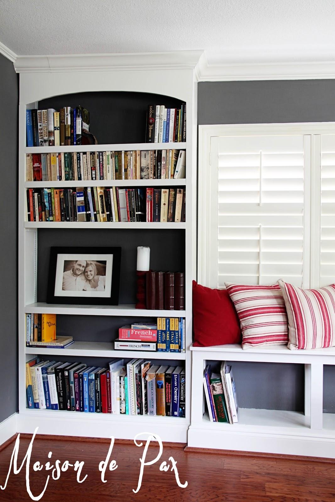 Wonderful image of DIY Built In Bookshelves Maison de Pax with #75332C color and 1066x1600 pixels