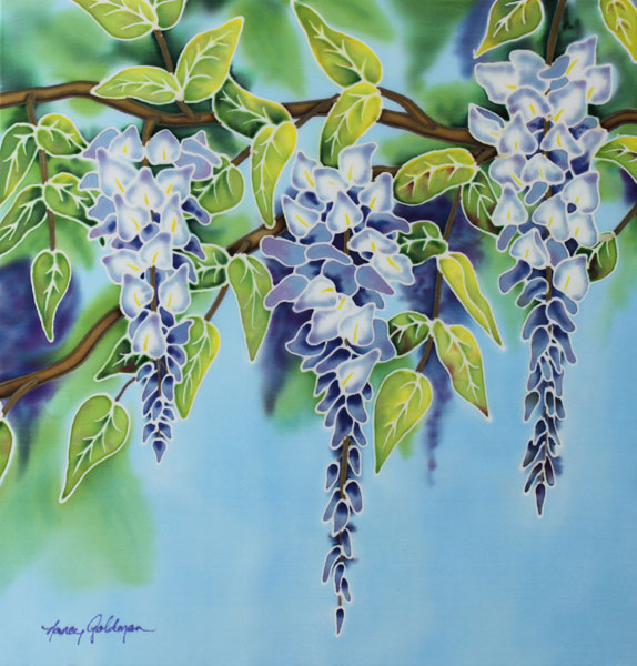 Nancy goldman art silk wisteria painting on silk i had so much fun with this one i think i will need to do another silk painting really soon this one has my favorite color combination purple and lime mightylinksfo