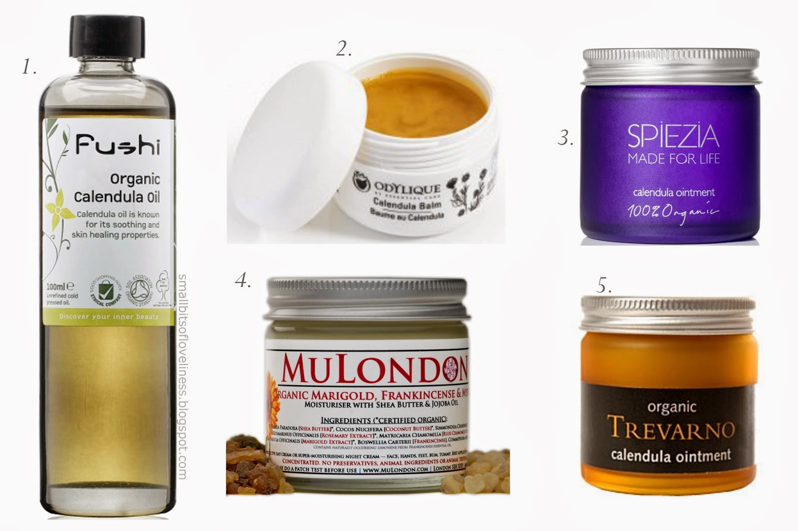 Products with Calendula, Fushi, Spiezia, Trevarno, MuLondon, Odylique