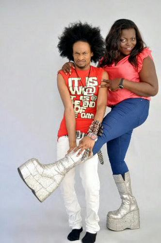 Funke Akindele sis. Tries Out Denrele Silver Coated High End Designer Boots