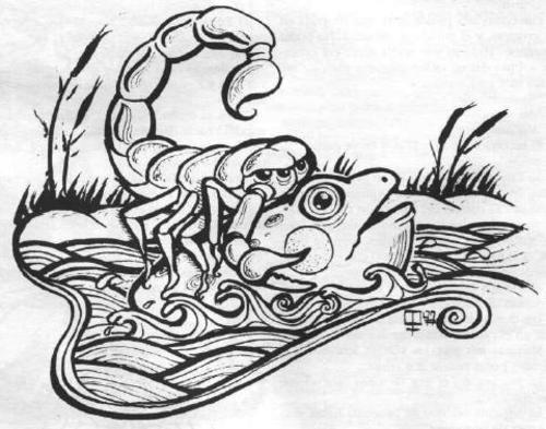 escorpión y rana
