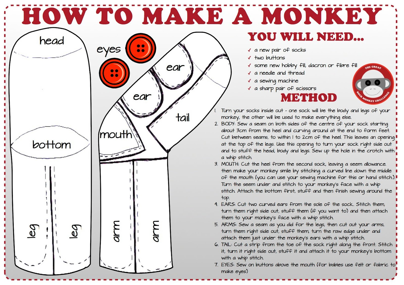 Instructions on www.facebook.com/pages/The-Great-Sock-Monkey ...