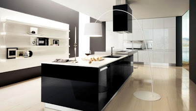 contemporary kitchen design in black and white with island