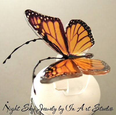 Monarch Butterfly Clear Resin Ring