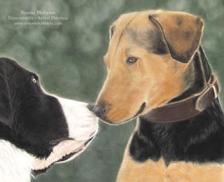 Tierportrait: Landseer und Bracke, Hundeportrait von Simone Hofmann malen lassen.