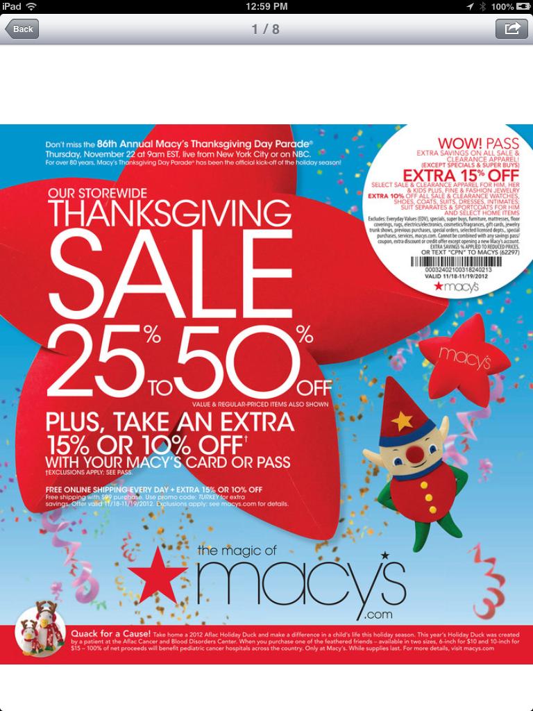 macy's thanksgiving sale online