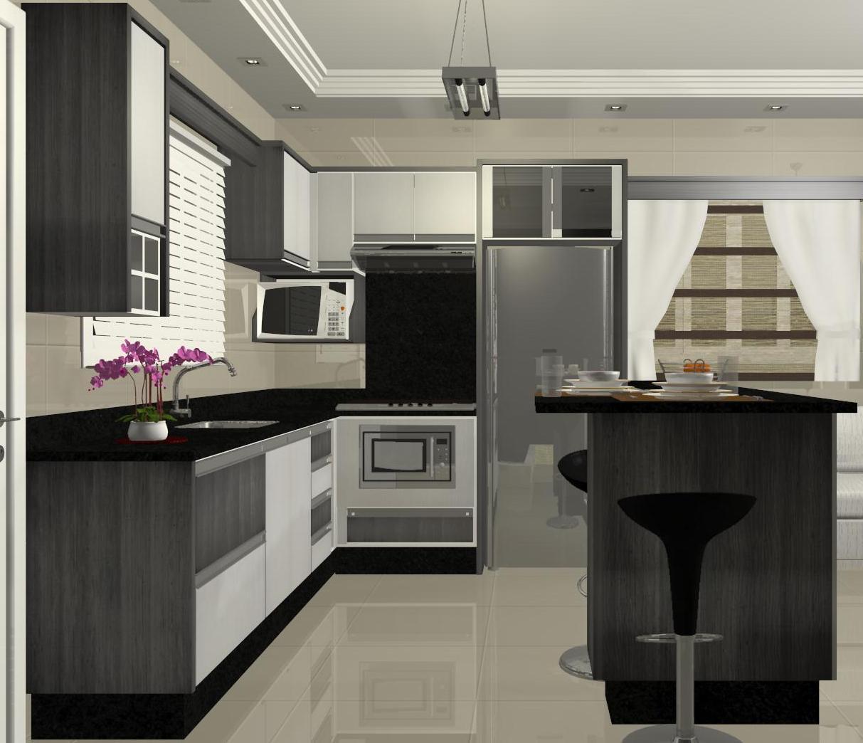 Espa O Nobre Design Cozinha C Ilha Modelo 2 R Fia Cinza Montego