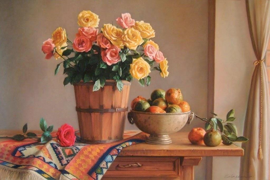 Im genes arte pinturas hermosos bodegones de arreglos - Fotos jarrones con flores ...