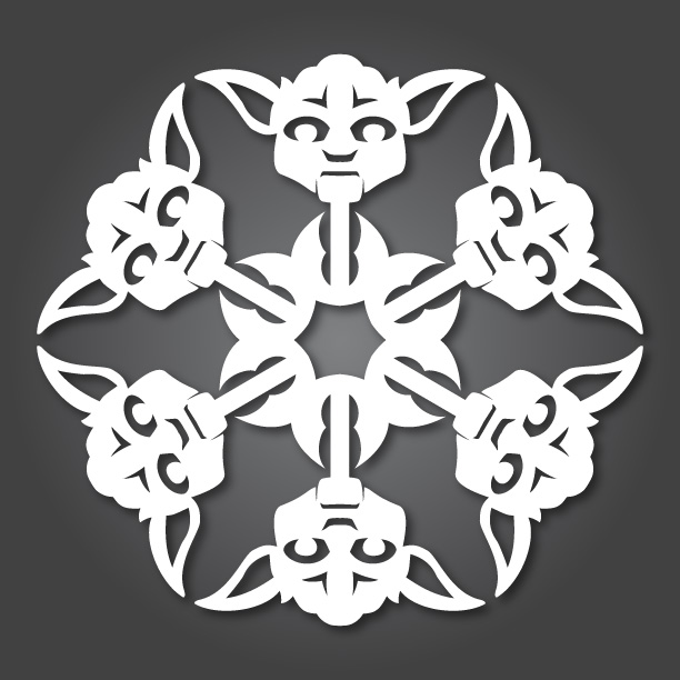 star wars theme snowflakes paper cutting, yoda