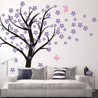 Purple bedroom ideas: Tree wall decor