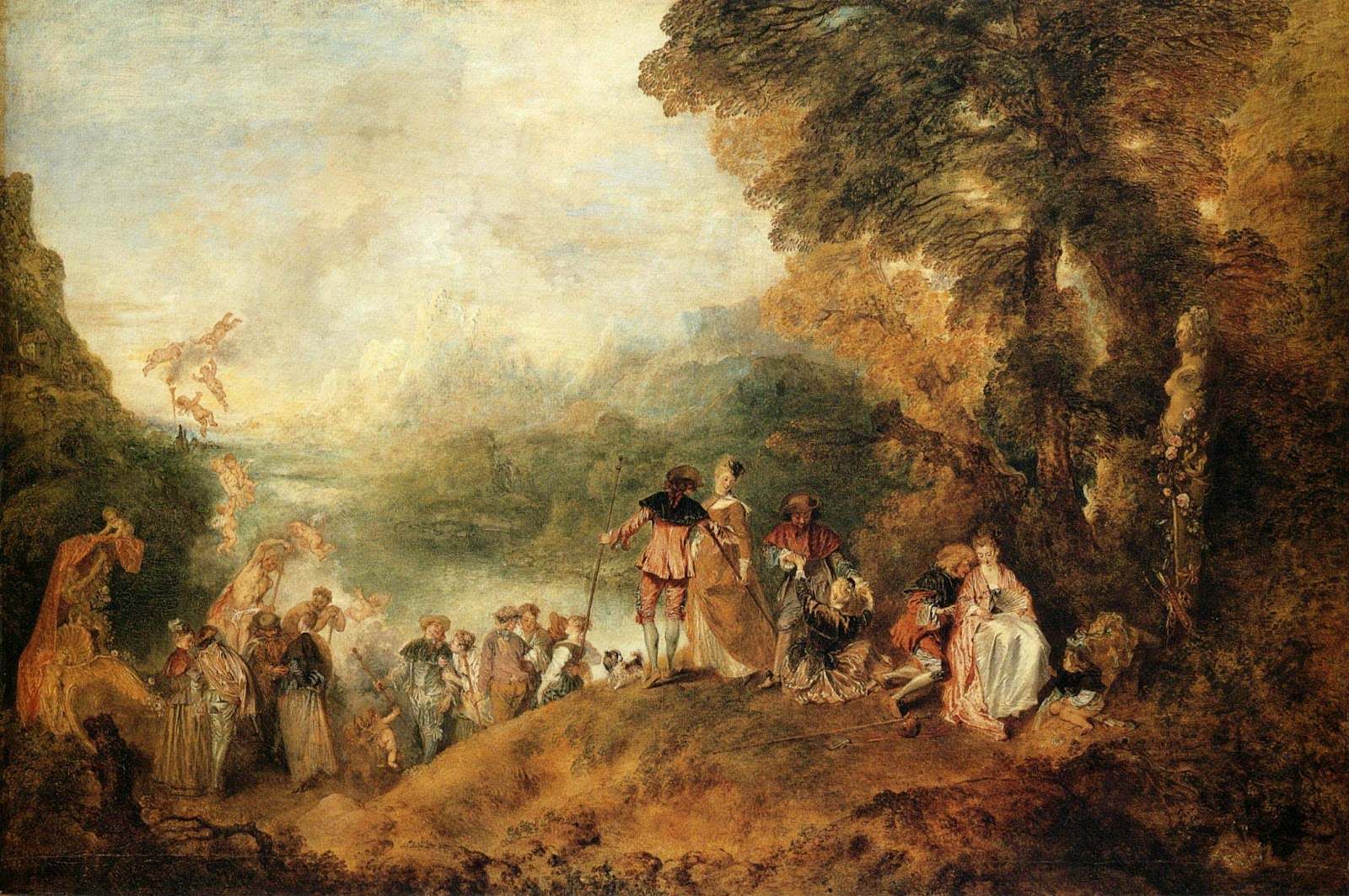 Explain how different perspectives were used in this work and what    Return From Cythera By Antoine Watteau