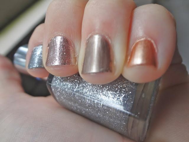 Mixed metals, nail polishes, metallics