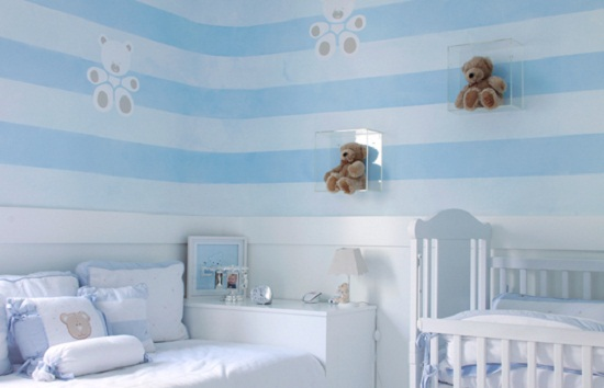 Coisas da Kátia Paredes listradas  ~ Quarto Para Bebe Masculino Azul