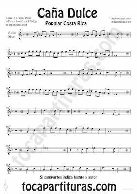 Tubepartitura Caña Dulce de J. Daniel Zúñiga y J.J. Salas Pérez partitura para Violín y Oboe canción Tradicional de Costa Rica