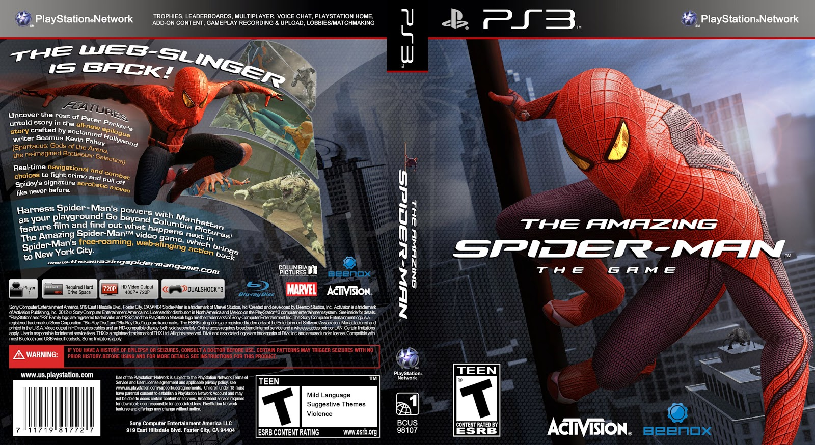 Capa The Amazing Spider-Man The Game PS3