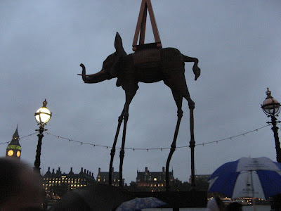 Statue of elephant by Dali near Westminster in London