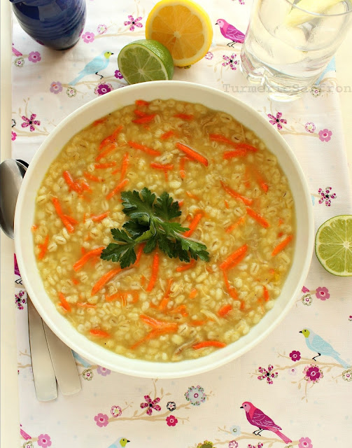 Turmeric & Saffron: Soup-e Jo - Persian Chicken Barley Soup
