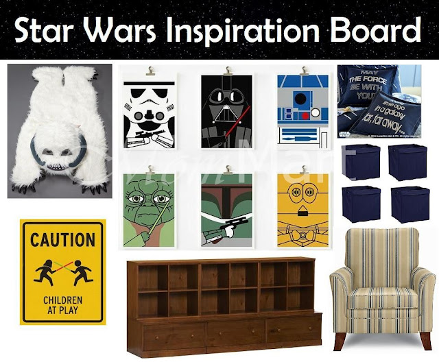 Star Wars Themed Family Room: Star Wars Inspiration Board for a Star Wars Playroom Theme #StarWars