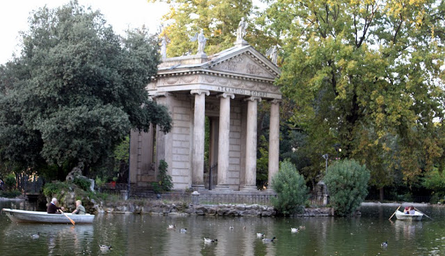 Villa Borghese Lake is also known as the Giardino del Lago in Rome, Italy