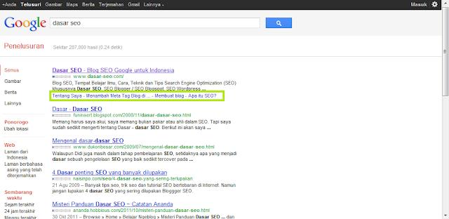 Google Sitelinks untuk Keyword Dasar SEO