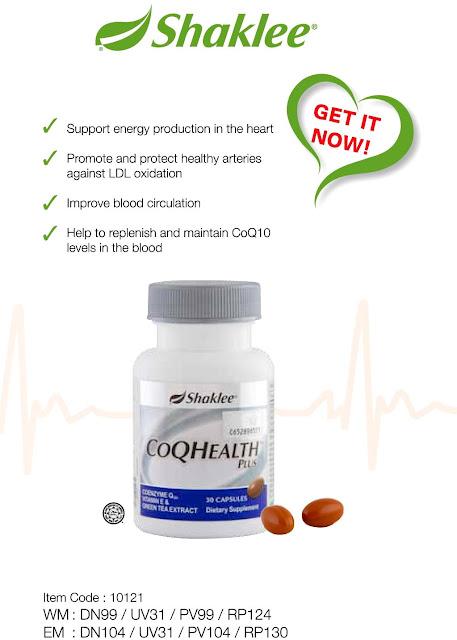 CoEnzyme Q10 - Shaklee CoQhealth bagus untuk jantung
