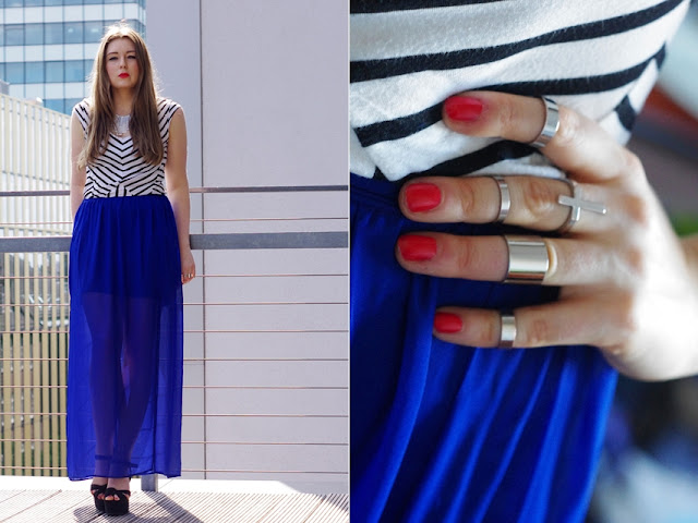 bijou brigitte, press day, showroom, stripes, streifen shirt, blauer maxi rock,blue maxi skirt, hamburg Modeblog, german fashionblogger, statement necklace, statement kette silber, ethno schmuck, hipster jewelry,