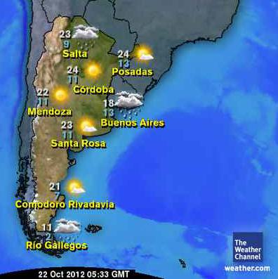 Temp. min/máx Argentina