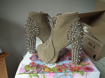 Jeffrey Campbell Lita Spike in Taupe Suede