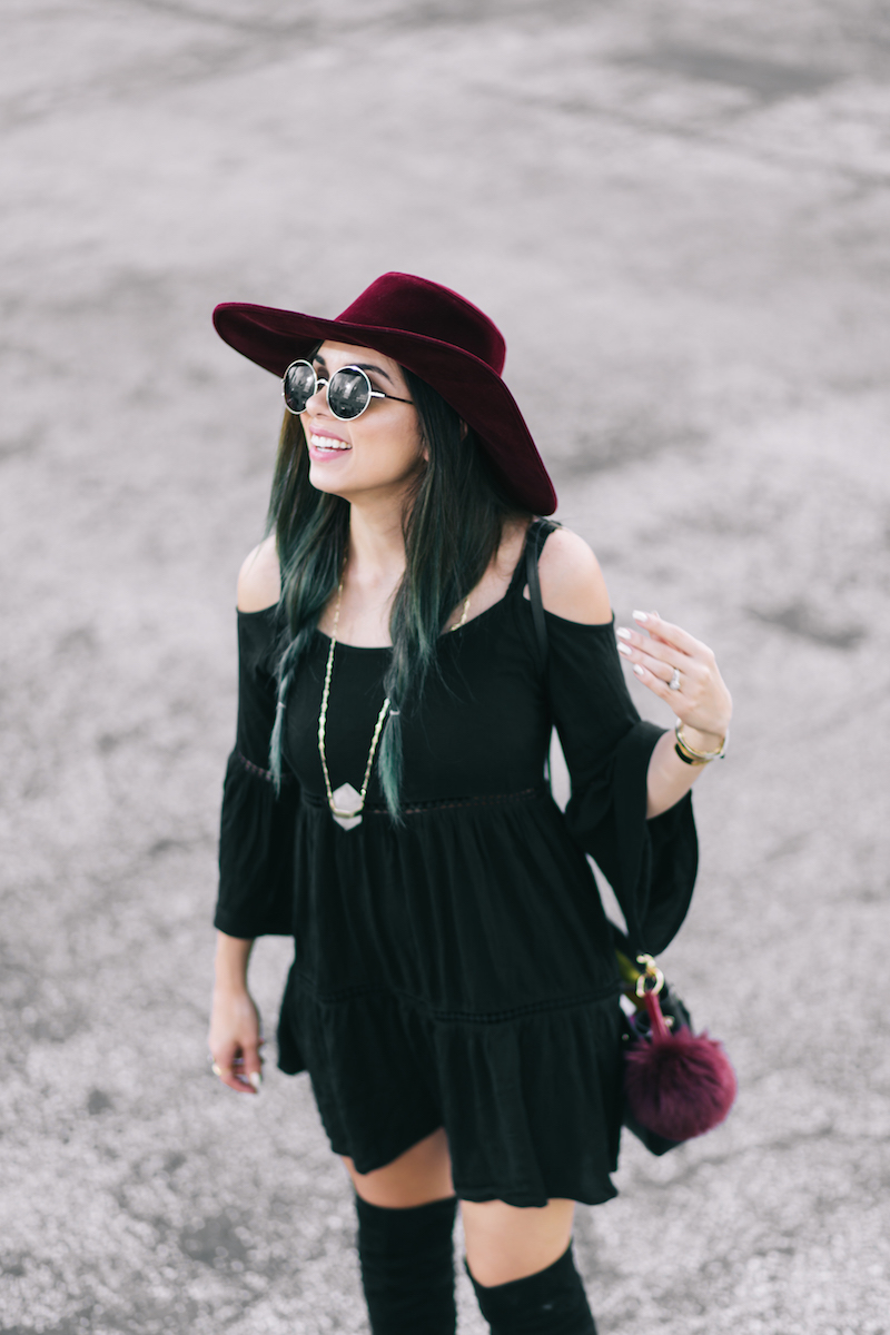 guess, boho, over the knee boots, lord and taylor, free people, burgundy hat, capwell, forever 21, round sunglasses, coordinates, miami, miami fashion blogger,